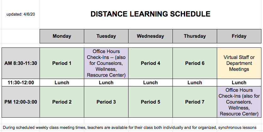 PHS and MHS Remote Learning Schedule